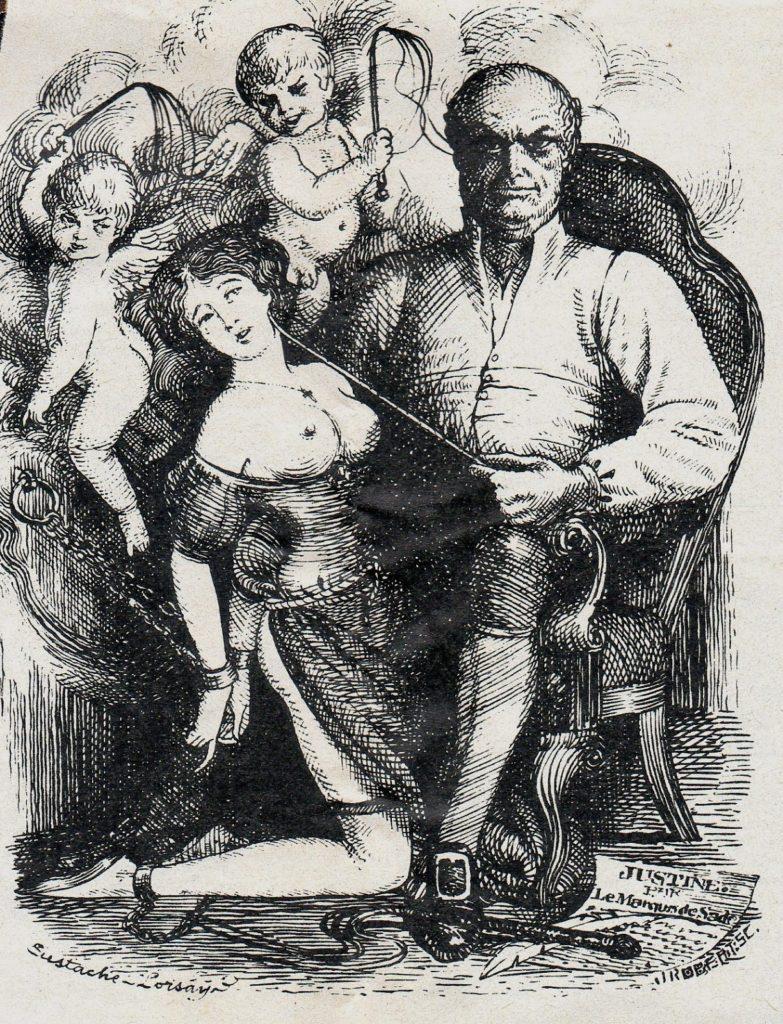 Вучето изучава изкуството на S&M с книга на маркиз дьо Сад в ръка